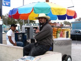 Rt. 66: West Hollywood: street vendor for peace