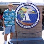 Down LA River Catalina: John Varley next to Welcome sign