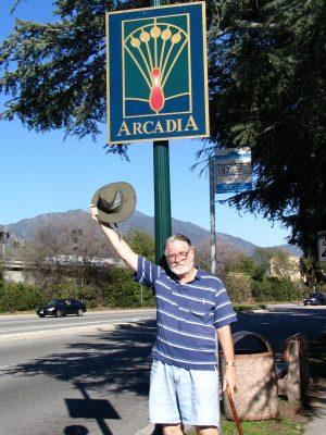 Rt. 66: Colorado Blvd: John Varley waves hat