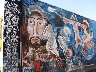Rt 66: LA: Chinatown mural dedicated to Marmelite Sisters, 1