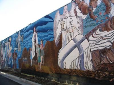 Rt 66: LA: Chinatown mural dedicated to Marmelite Sisters, 3
