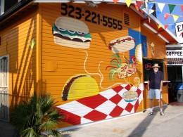Rt 66: LA: John Varley in front of Mexican Restaurant