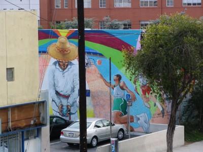 Rt. 66: Echo Park - mural, parking lot