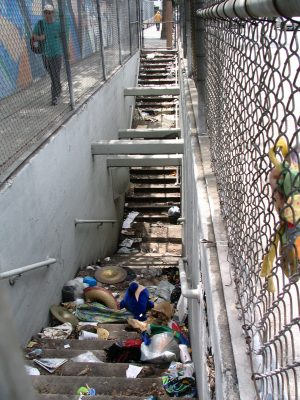 Sunset Boulevard - Part Five: The Music Box, stairwell filled with garbage