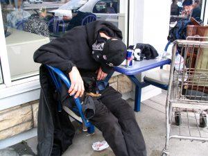 Sunset Boulevard - Part Six: Hooray! Hollywood! sleeping homeless man with Chihuahua