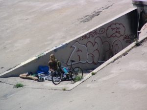 Up LA River Part 3: homeless man with bike & guitar