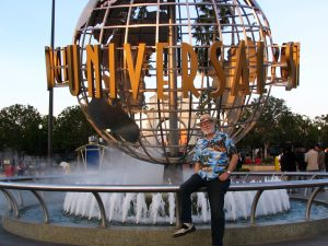 John Varley in front of Universal Globe