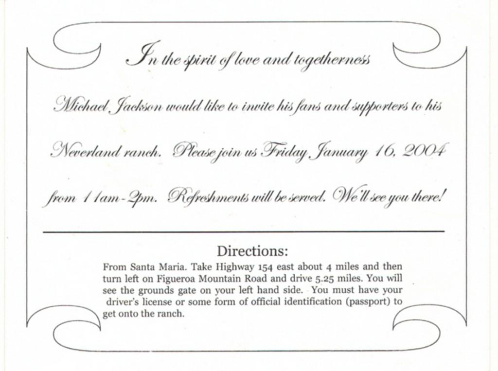 Michael Jackson Neverland invitation