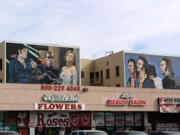 Rt. 66: West Hollywood mural, Elvis, Arnold, and Marilyn; The Beatles