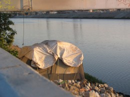Down LA River Part 11: leaky tent