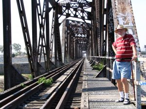 Down LA River Part 8: John Varley on rr bridge