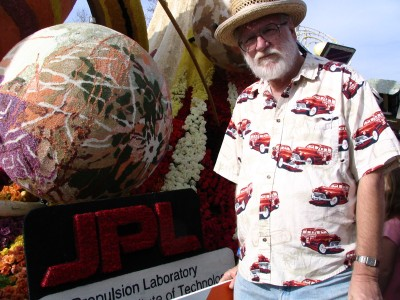 Rt. 66: 2008 Tournament of Roses Parade: John Varley next to JPL float