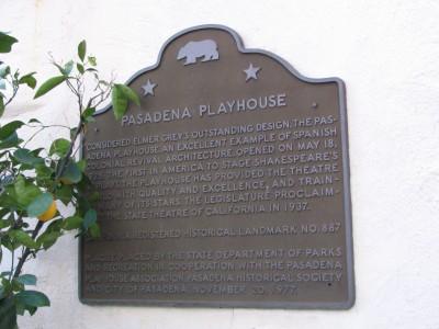Rt. 66: Colorado Blvd: Pasadena Playhouse plaque
