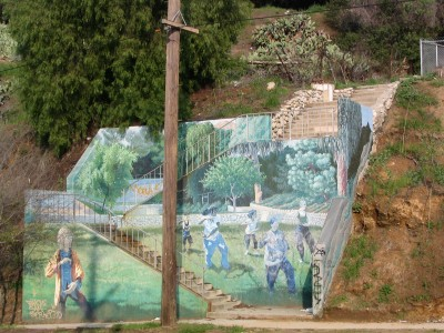 Rt. 66: Highland Park to Pasadena: Eagle Rock mural, Tai Chi
