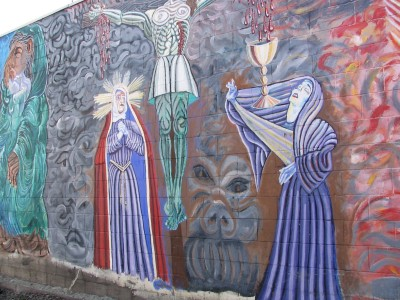 Rt 66: LA: Chinatown mural dedicated to Marmelite Sisters,2