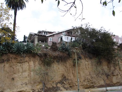 Rt. 66: Echo Park - houses on sandstone cliff