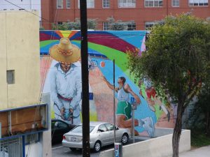 Rt. 66: Echo Park - mural, parking lot