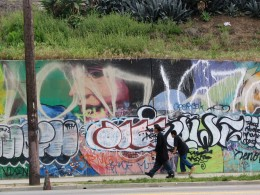 Sunset Boulevard - Part Four: Echo Park to Silverlake: graffitied mural, 1