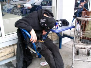 Sunset Boulevard - Part Six: Hooray! Hollywood! sleeping homeless man with Chihuahua