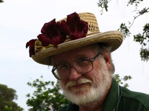 Wilshire Blvd Part 1: John Varley flowers on his hat in MacArthur Park