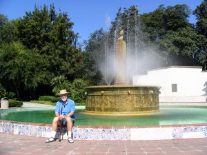 Wilshire Blvd Part 5: John Varley sitting on BH fountain