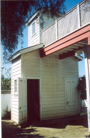 21 Missions: San Juan Bautista, 2 story outhouse