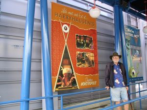 Disneyland and California Adventure Part 6: John Varley next to Harryhausen poster