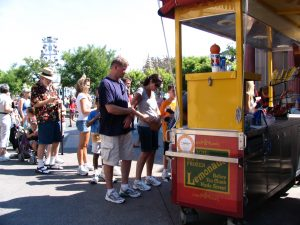 Disneyland and California Adventure Part 8: John Varley lines up for frozen lemonade