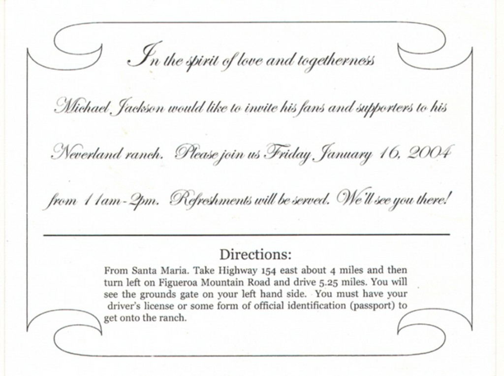 Michael Jackson Neverland invitation