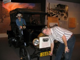 Steinbeck Center: John Varley cranks a car