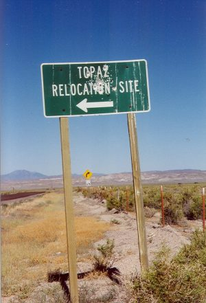 Topaz Central Utah WRA Relocation Center: road sign