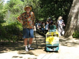 Descanso Gardens: John Varley next to train