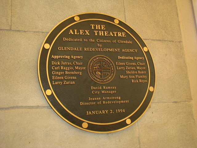 The Alex: plaque